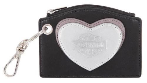 Harley-Davidson Women/'s Heart Leather Coin Purse Shiny Nickel Finish HDWWA11594