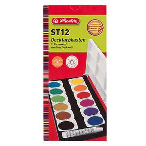 Herlitz Deckfarbkasten 12 Farben Wasserfarben Schulmalfarben water colour set