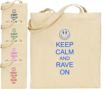 Keep Calm And Rave Auf Großen Baumwolltasche Einkaufstasche Spaß