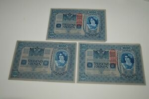Lot-3-Pre-WWI-Currency-1000-TAUSEND-KRONEN-BANK-NOTE-Austria-Hungary-1902