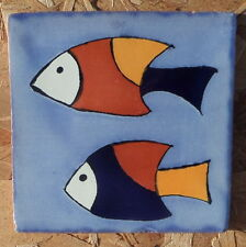 "10~Talavera Mexican 4"" tile kiln fired hand painted STRIPED FISH SWIMMING OCEAN"