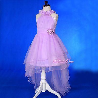 Rosettes Halter Gown w/ Train Wedding Flower Girl Pageant Dress Size 2T-10 FG338