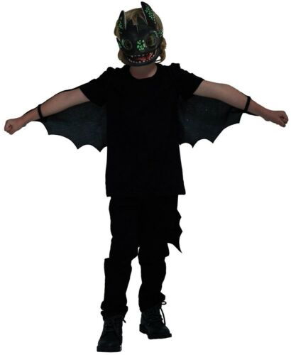Boys Glow In Dark Toothless How To Train Your Dragon 3 Fancy Dress Costume Kit