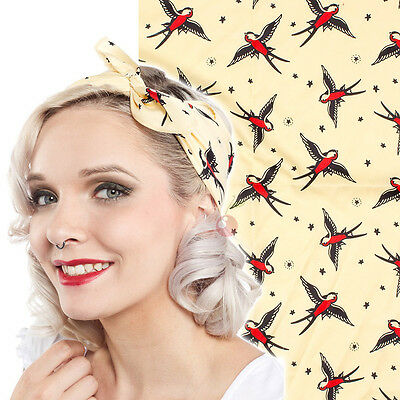 Sourpuss Tattoo Swallow Satin Head Scarf Bandana Punk Pin Up Rockabilly Retro