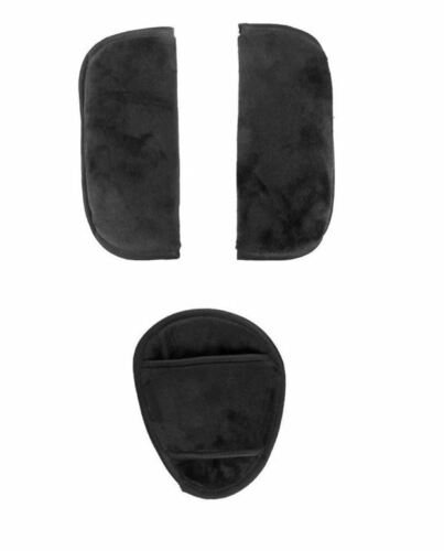 Black Plush 3pc Cushion Pad Covers for Baby Car Seat Straps Buckle Peg Perego