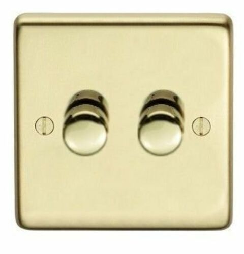 LED 1 2 3 OR 4 GANG LIGHT SWITCH TRAILING EDGE  SATIN BRASS DIMMER SWITCH