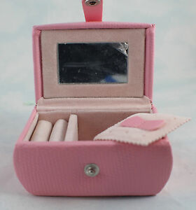Jewelry Travel Case Pink Hard Shell Velvet Lined 3 1 2 X 2