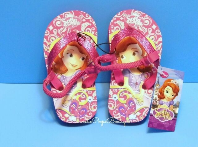 Disney Sofia The First Flip Flop Sandals Toddler Girls 5 6 7 8 New