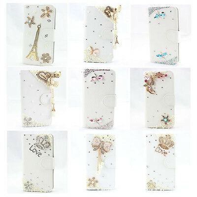 3D bling leather wallet flip diamond case cover samsung galaxy s2 s3 s4 s5 s6