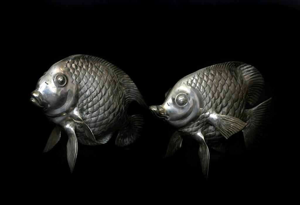 Pesce Ottone argentooato Decorazione Tavolo Decorazione Laghetto Acquario Metallo argentooo Nuovo