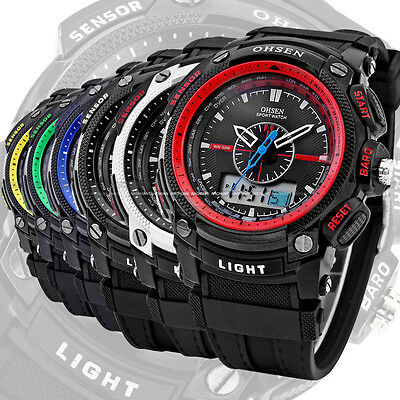Fashion Men's Stopwatch Rubber Digital LCD Dual Time Date Day Alarm Quartz Watch