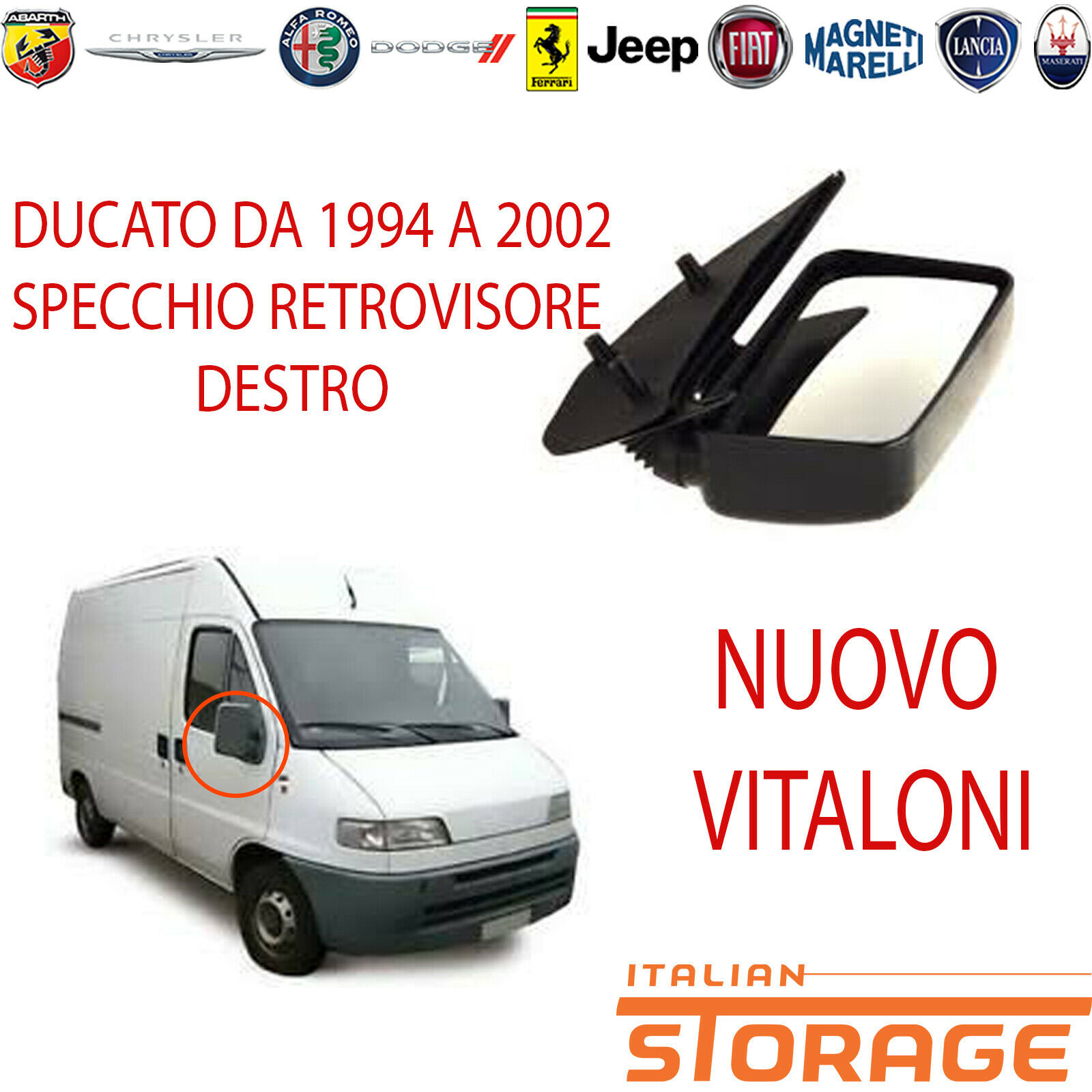 SPECCHIO FIAT DUCATO /'90-/'94 MANUALE BRACCIO CORTO DESTRO