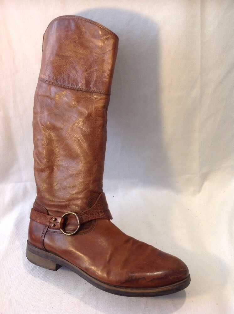 Ladies Brown Knee High Leather Boots Size 41