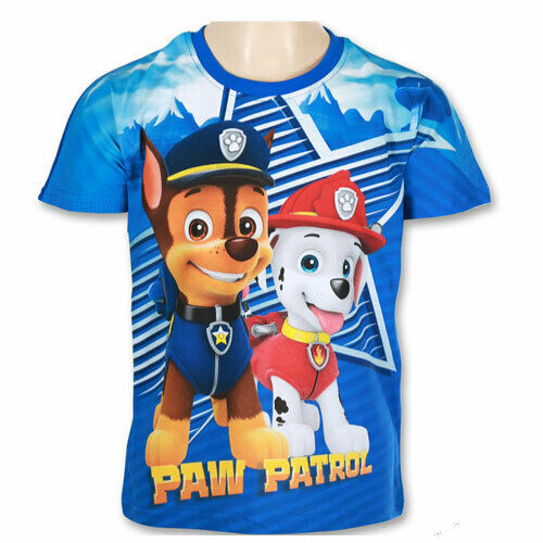 Boys 100/% Cotton PAW Patrol Short Sleeve Printed T-Shirt 2-8 years
