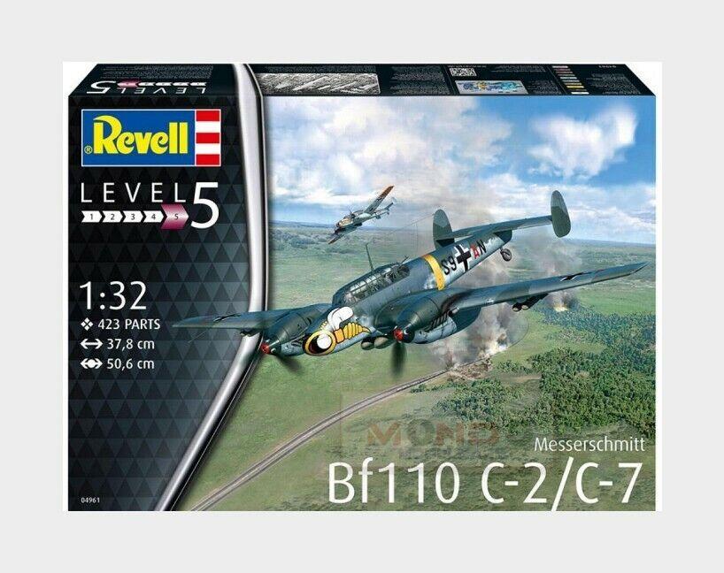 Messerschmitt Bf110 C2C7 Geruomoy Luttwaffe Aircraft Kit REVELL 1 32 RV04961