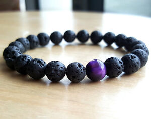 Mens-Lava-Rock-Tigers-Eye-Mala-Beads-Energy-Yoga-Beaded-Bracelet