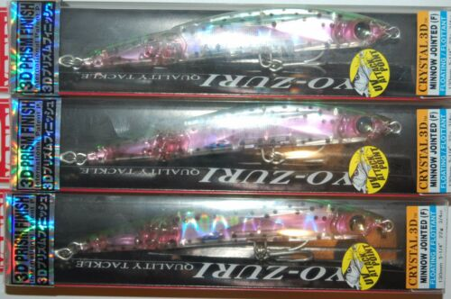"3 lures yo zuri crystal 3d minnow jointed floatin 5 1//4/"" f1051-hnm rainbow trout"