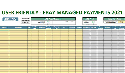 2021 Ebay Managed Payments Monthly Tracker Excel Spreadsheet Email Delivery Ebay