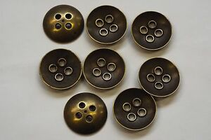 8pc 20mm Antique Gold Brass Metal Blazer Coat Cardigan Knitwear Kids Button 3481