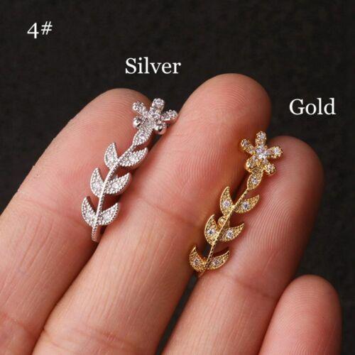 4mm Ball CZ Ear Cuff Stud Daith Tragus Rook Piercing Jewelry Bar Lobe Earring