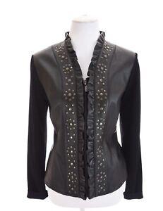 Peter-Nygard-Black-Ruffled-Studded-100-Leather-Moto-Jacket-Full-Zip-Womens-Sz-M