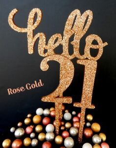 Rose Gold Hello 21 21st Birthday Cake Topper Sign Natural Timber Raw Silver Blue Ebay