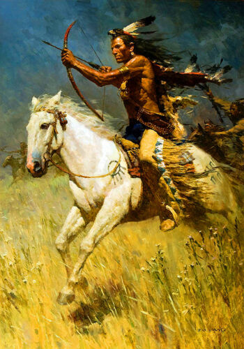 Native American Indian Warrior War Horse Art Quality Canvas Print A3