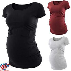 Pregnant-Women-Maternity-Short-Sleeve-Plain-T-Shirt-Casual-Daily-Blouse-Tops-Tee