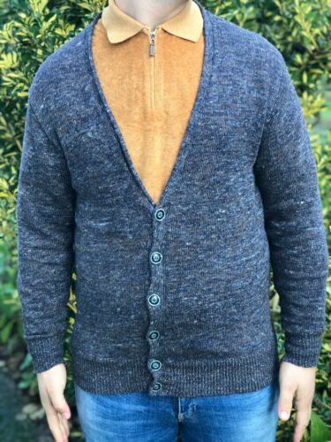 Inis Meain Gray Knit Vest Cardigan Abstract Design