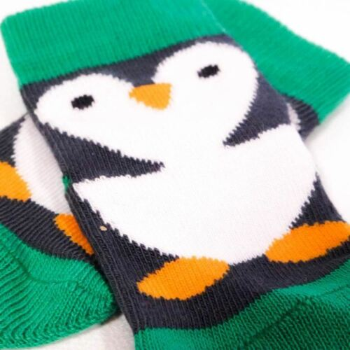 Penguin Baby Socks in Black /& GreenNew Baby 0-6 Months