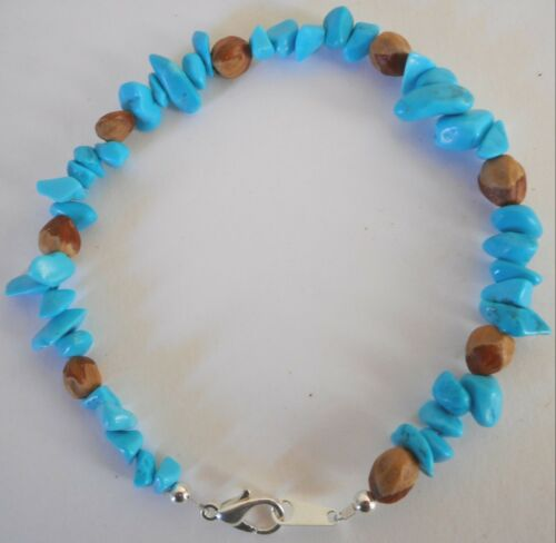 American Navajo Indian Ghost Cedar Beads Juniper Berry Turquoise Nugget Bracelet