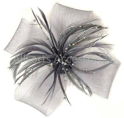 Looped Feather Beak Clip Fascinator Ladies Day Races Wedding Royal Ascot Brooch