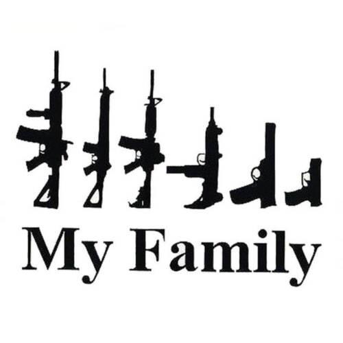 Funny Car Bumper Black Art Wall White Decals My Gun Family Sticker Vinyl