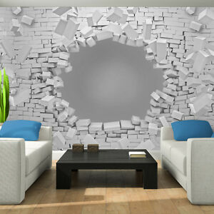 bild poster wandbild tapeten fototapete ziegel weiss mauer 3d grau 3fx3021p8 ebay. Black Bedroom Furniture Sets. Home Design Ideas