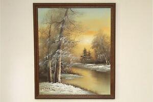 Original-Oil-on-Canvas-Painting-MARC-HANSON-b-1955-Winter-Landscape-26-034-x-22-034