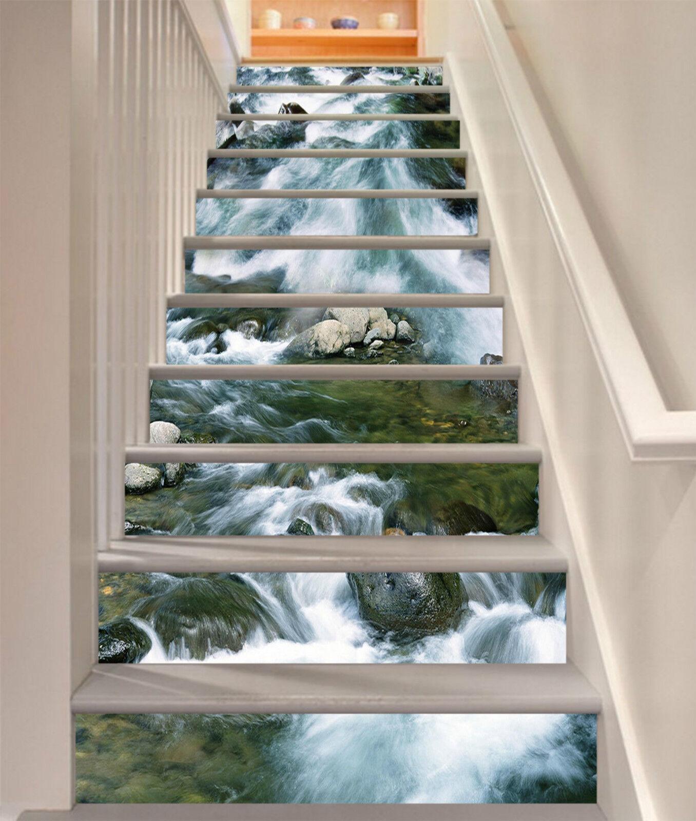 3D Turbulente Fluss Stair Risers Dekoration Fototapete Vinyl Aufkleber Tapete DE