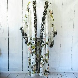 New-Gigio-By-Umgee-Duster-Kimono-M-Medium-Ivory-Floral-Lace-Boho-Peasant