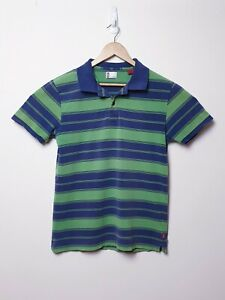Levis-Mens-Size-L-Large-Dark-Blue-amp-Green-Striped-Collared-Polo-Shirt