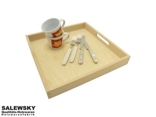 Betttablett Serviertablett 35x35cm Frühstückstablett Tablett Holz Buche Natur