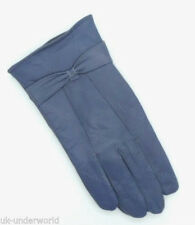 Ladies Soft Sheepskin Leather Driving Gloves Warm Lined Coloured With Bow Design