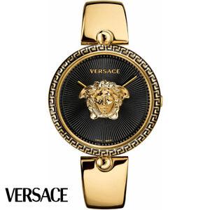 Versace-VCO100017-Palazzo-Empire-schwarz-gold-Edelstahl-Armband-Uhr-Damen-NEU