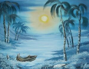 ORIGINAL-OIL-PAINTING-on-CANVAS-Boat-Shore-by-SP-Soni