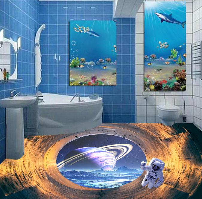 3D Space Astronauts 4 Floor WallPaper Murals Wall Print 5D AJ WALLPAPER AU Lemon