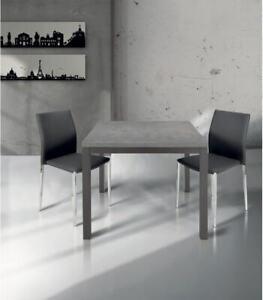 Tavolo da Cucina Moderno Quadrato 90 x 90 a Libro Grigio Cemento - 4 ...