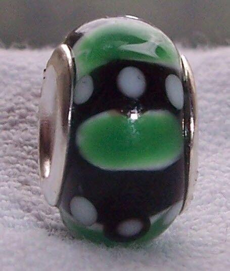 Green Black White Murano Glass Bead for Silver European Style Charm Bracelets