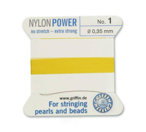 YELLOW NYLON POWER SILKY THREAD 0.35mm STRINGING PEARLS /& BEADS GRIFFIN 1