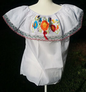 Campesina Mexican Blouse Shirt White Ruffled Off Shoulder Floral