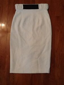 9f2f517289 Raoul white pencil viscose skirt w black leather belt fully lined sz ...