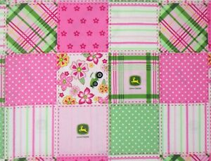 FLORAL-MADRAS-JOHN-DEERE-PINK-FABRIC-TRACTOR-FARM-SPRINGS-CREATIVE-15-034-REMNANT