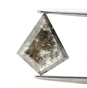 Big Real Natural Diamond 1.37Ct Kite Salt and Pepper Sparkling Step Cut for Gift